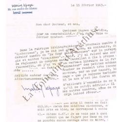 Une lettre tapuscrite...